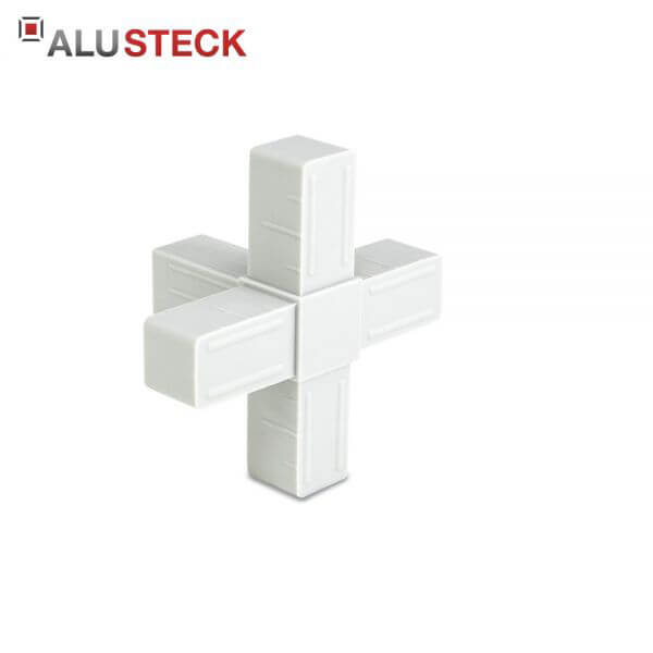 Rohrverbinder / Eckverbinder: Kreuz 1 Abgang grau - 20x20mm Vierkantrohr Steckverbinder