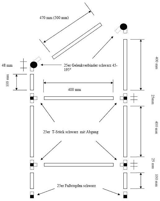 Explosionsansicht mit Aluprofilen und Steckverbinder-Elementen zum Regal selber bauen
