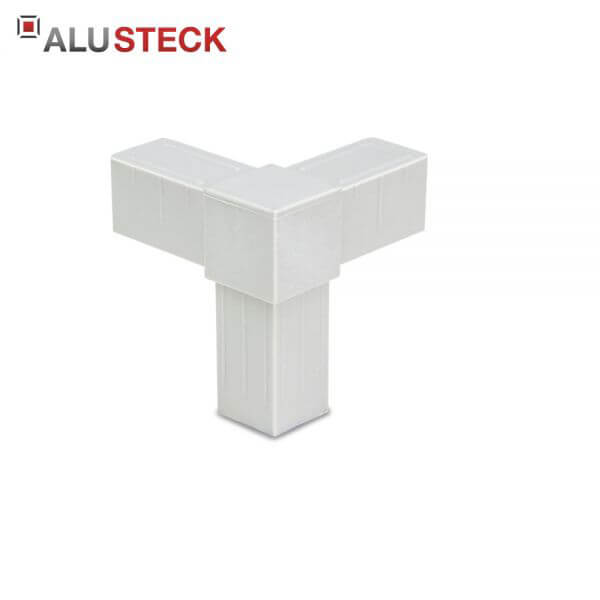 Rohrverbinder / Eckverbinder: Rechter Winkel 1 Abgang grau - 20x20mm Vierkantrohr Steckverbinder