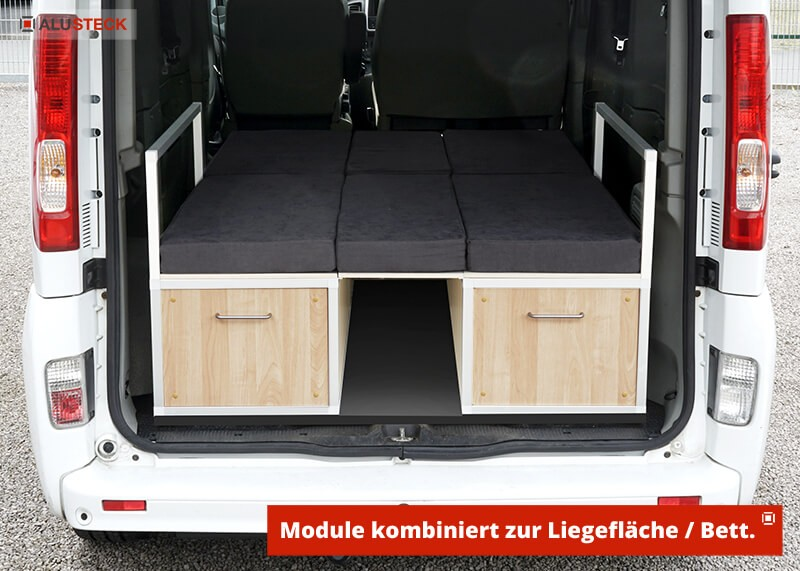 Camperbox bauen - Ansicht Modul-1 und 2 kombiniert eingebaut als Camper-Bett
