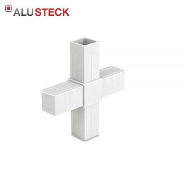 Rohrverbinder / Eckverbinder: Kreuz grau - 20x20mm Vierkantrohr Steckverbinder