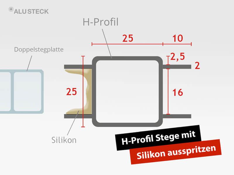 Terrassendach do it yourself - Hohlkammerplatten und Aluminium H-Profil mit Silikon abdichten und verkleben