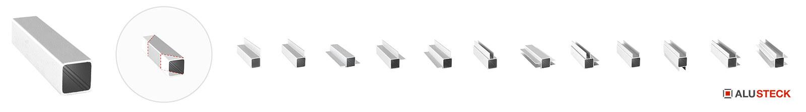 Ladenbausysteme nach Maß Ladenbau Profile Steckprofile Alu Rohre Aluminium