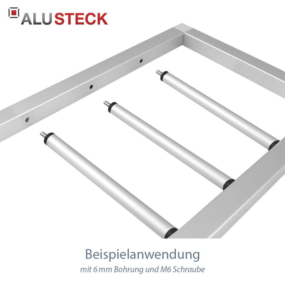 Rohrstopfen 20mm für Rundrohre mit Schraube M6 an Rahmenkonstruktion