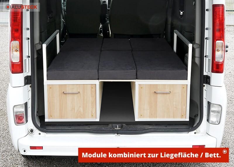 Camperbox bauen - Ansicht Modul-1 und 2 kombiniert als Camper-Bett eingebaut