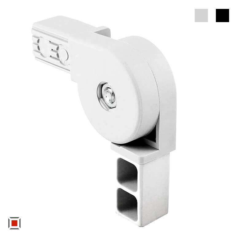XD Verbinder Gelenkverbinder Kunststoff, vierkant Gelenk 0-270 Grad für Vierkantrohre 25x25mm, Rohrverbinder VS2D2V25K-GELENK270Grad RAL7035 und schwarz