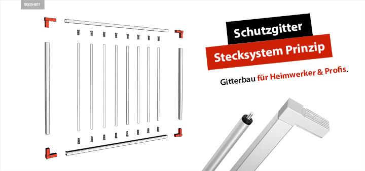 Alusteck Schutzgitter Gitter Stecksystem Prinzip
