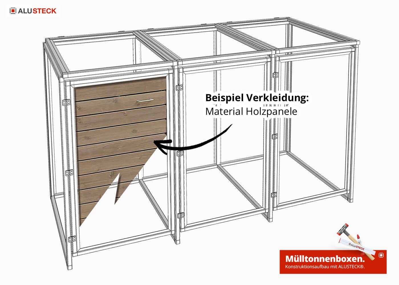 Mülltonnenbox für 3 x Tonnen 240 Liter - DIY Mülltonnenverkleidung - Korpus Tonnehaus-Gestell bauen