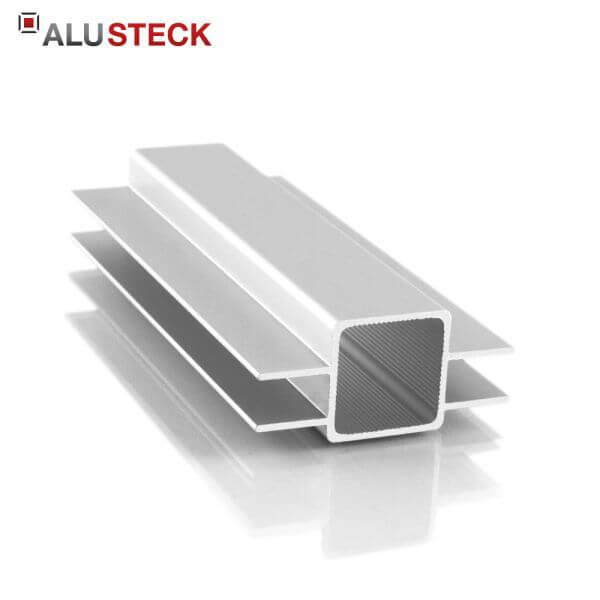 Aluprofil 25x25x1,5mm 2 Doppelstege 15mm gegenüber: Quadratrohr 6m Lagerlänge