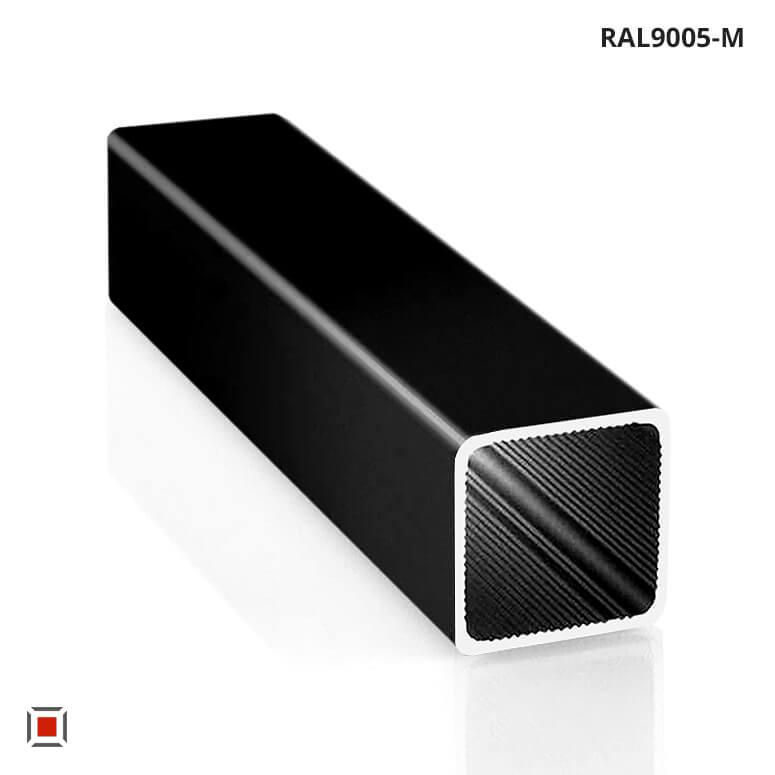 Alu Vierkantrohr schwarz pulverbeschichtet 25 x 25 x1,5 mm ALUSTECK® Quadratrohr R-V25-RAL9005-M