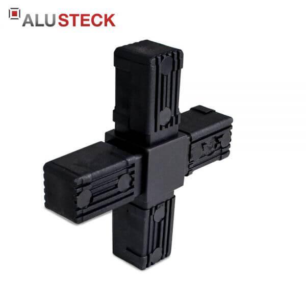 Rohrverbinder / Eckverbinder: Kreuz - 30x30mm Vierkantrohr Steckverbinder
