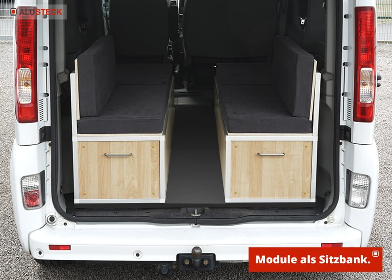 Campingbox Bauanleitung Womo mini Camper Auto Transporter Einbau Ansicht Sitzbank Stauraum Modul