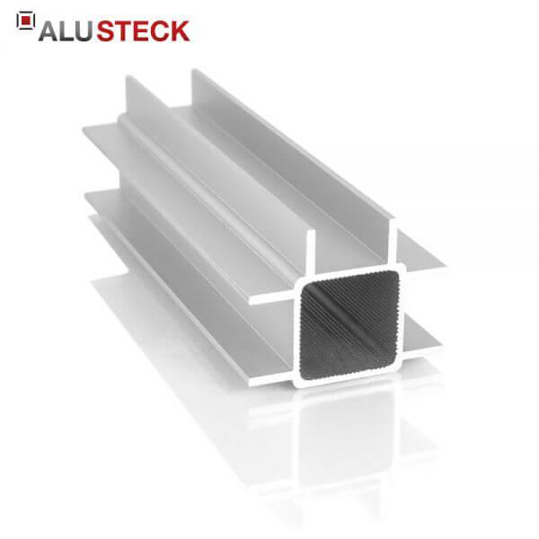 Aluprofil 25x25mm 3 Doppelstege 10mm - Quadratrohr 6m Lagerlänge
