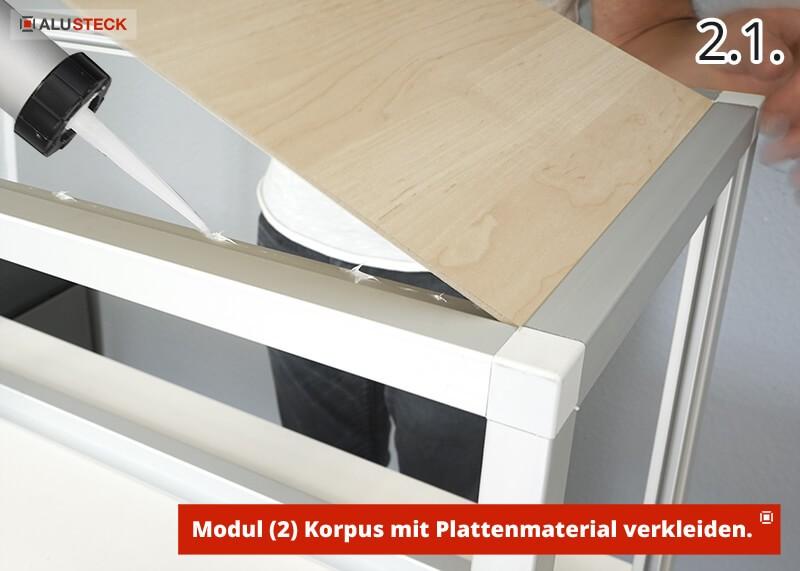 Camperbox selber bauen Bauanleitung - Modul-2 Korpus mit beliebigen Plattenmaterial-Dekoren verkleiden