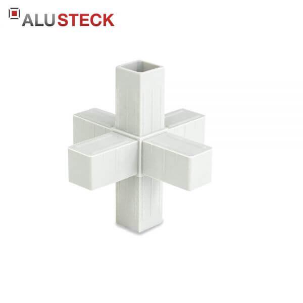 Rohrverbinder / Eckverbinder: Stern grau - 20x20mm Vierkantrohr Steckverbinder
