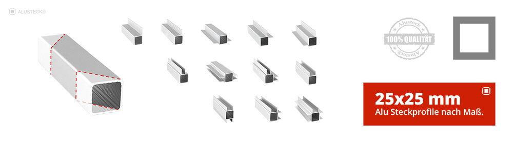 Alu Steckprofile Aluprofile Aluminiumprofile nach Maß 25x25mm Stecksystem Onlineshop kaufen