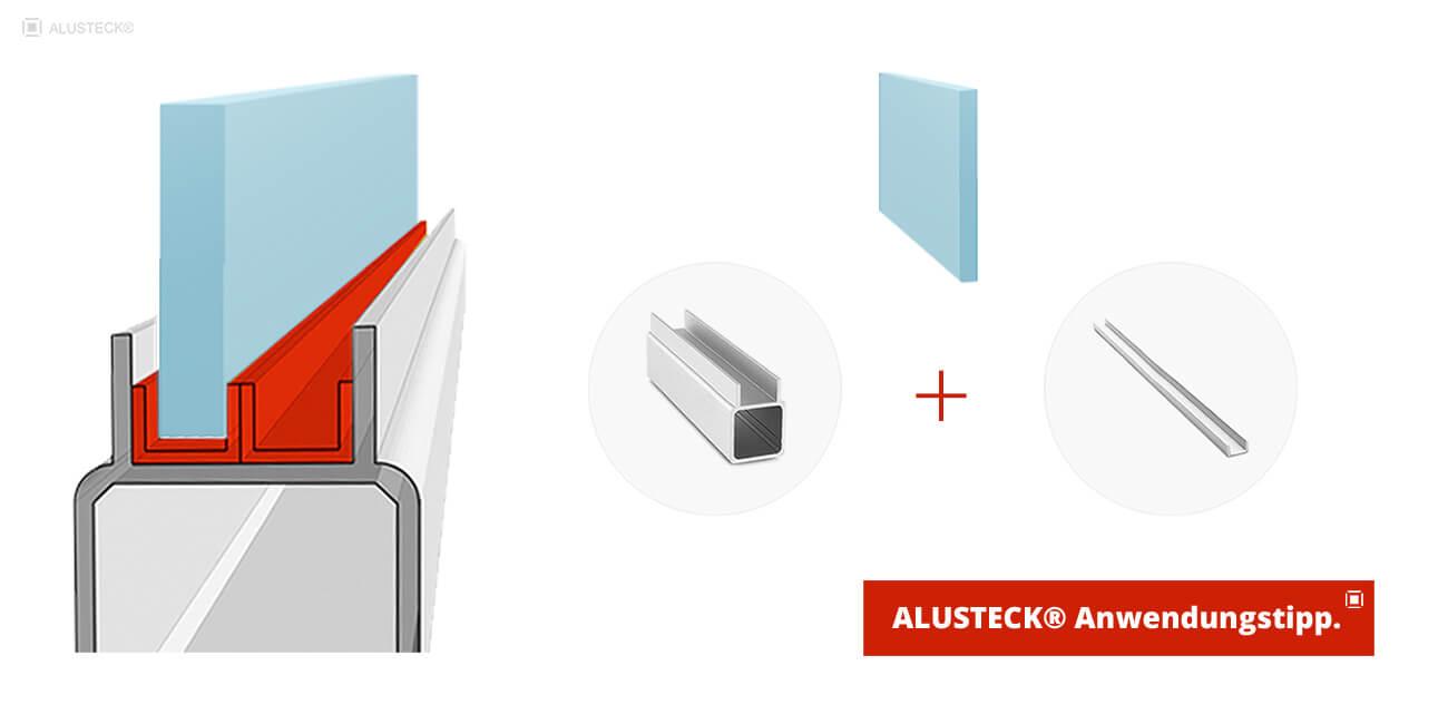 U Profil PVC Kunststoff als Einsatzschiene für Schiebetür