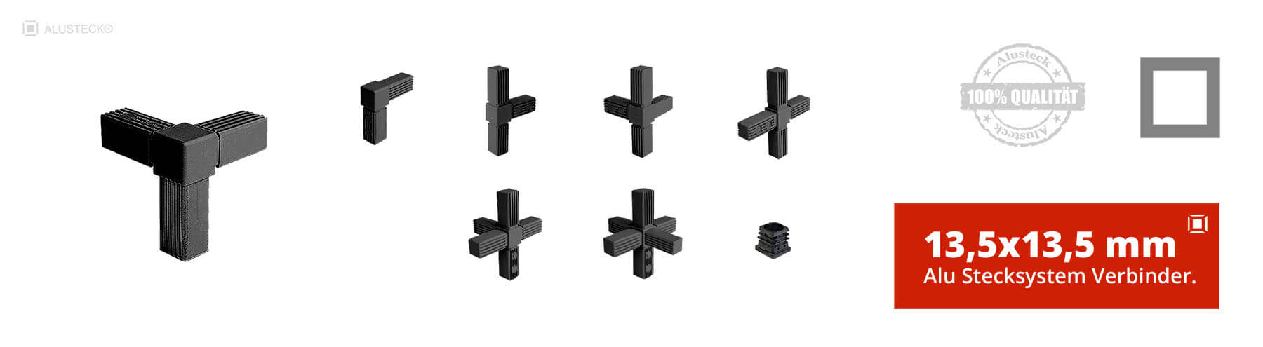 Steckverbinder Rohrverbinder Vierkantverbinder 13,5x13,5mm Stecksystem Onlineshop kaufen