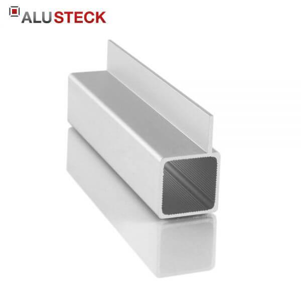 Alu Vierkantrohr 25x25x1,5mm 1 Steg 15 mm versetzt