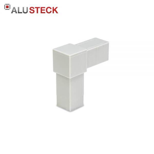 Rohrverbinder / Eckverbinder: Rechter Winkel grau - 20x20mm Vierkantrohr Steckverbinder