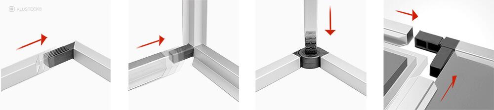 Alu Stecksystem 25x25mm Baukasten Profilsystem Prinzip