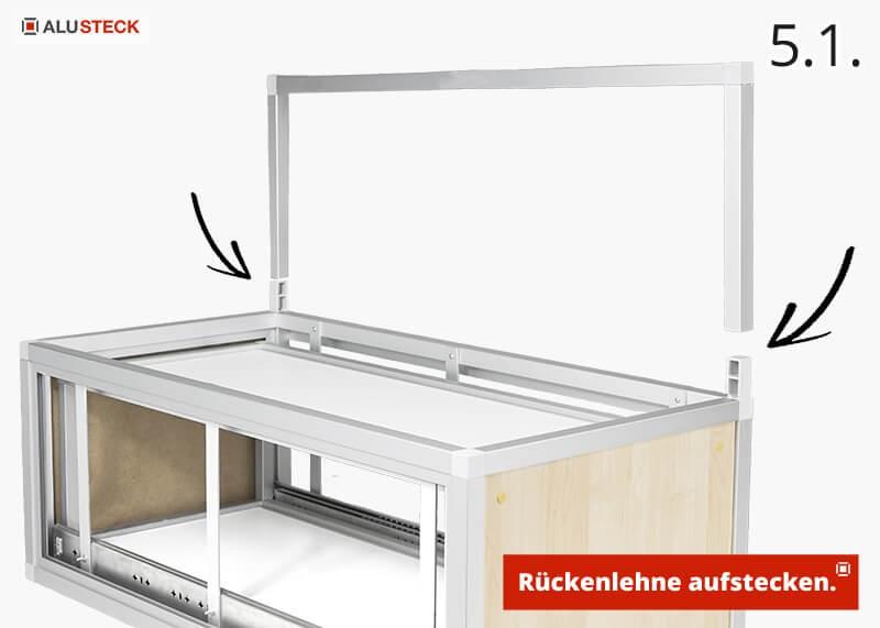 Campingbox Schubladenmodul selber bauen Schritt 5.1. Rückenlehne aufstecken