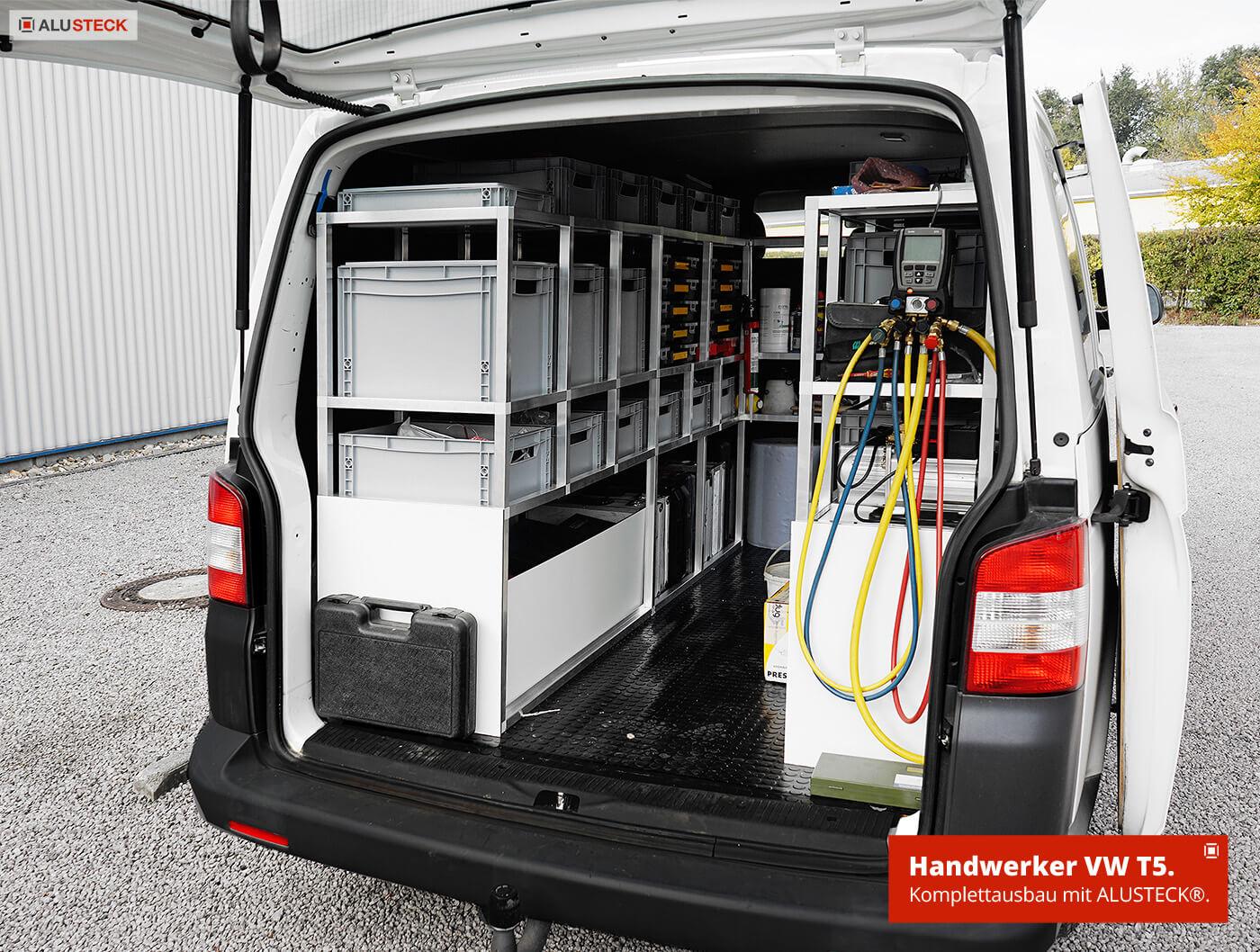 Werkstattwagen Ordnungssystem Handwerker VW T5 Ausbau Fahrzeugeinrichtung