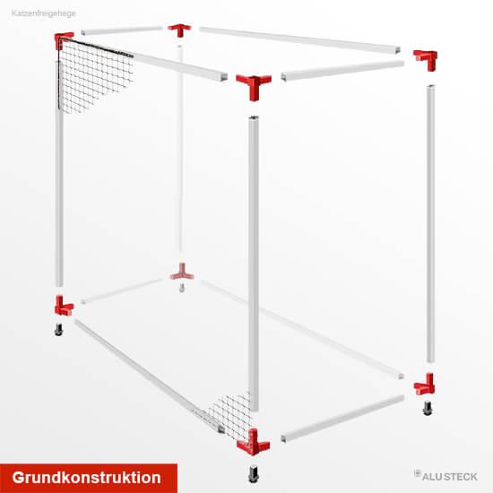 Gehege-Konstruktion aus Aluminiumprofilen und Steckverbindern selber bauen