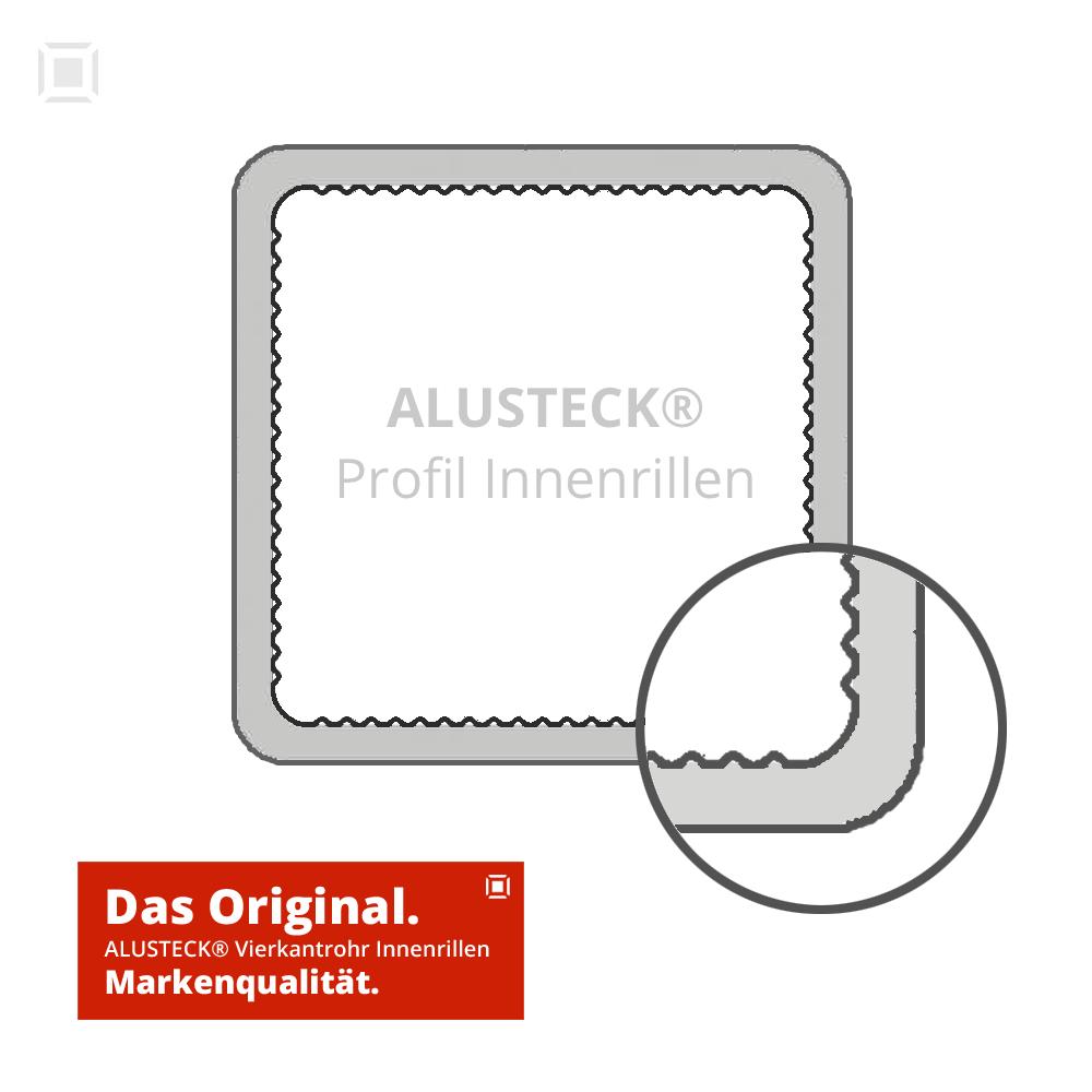 Aluminium Vierkantrohr Alu 25 x 25 1,5 mm Quadratrohr Innenrillen R-V25