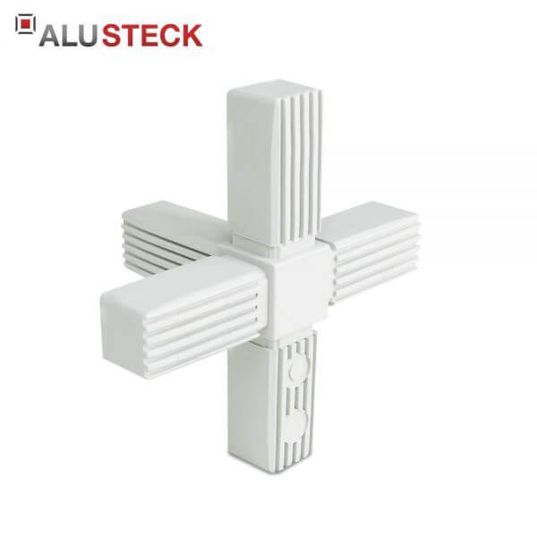 Rohrverbinder / Eckverbinder: Kreuz 1 Abgang grau - 25x25mm Vierkantrohr Steckverbinder