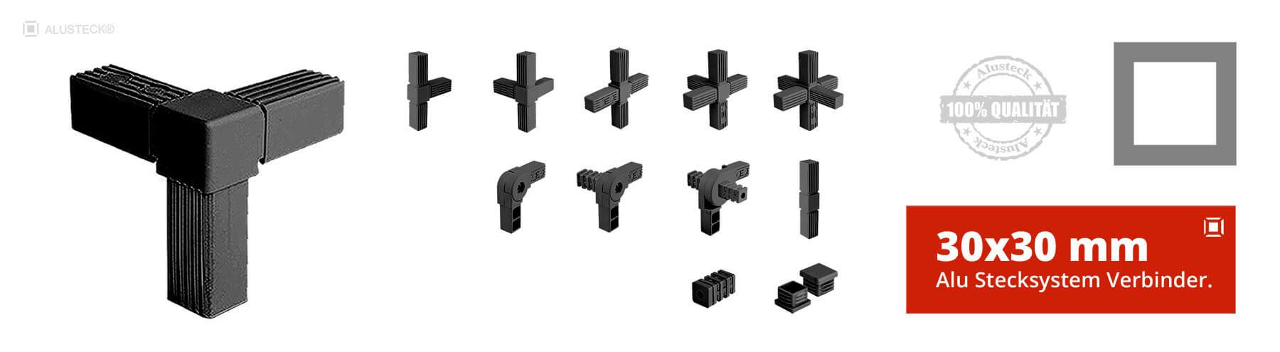 Steckverbinder Rohrverbinder Vierkantverbinder 30x30mm Stecksystem  Onlineshop kaufen