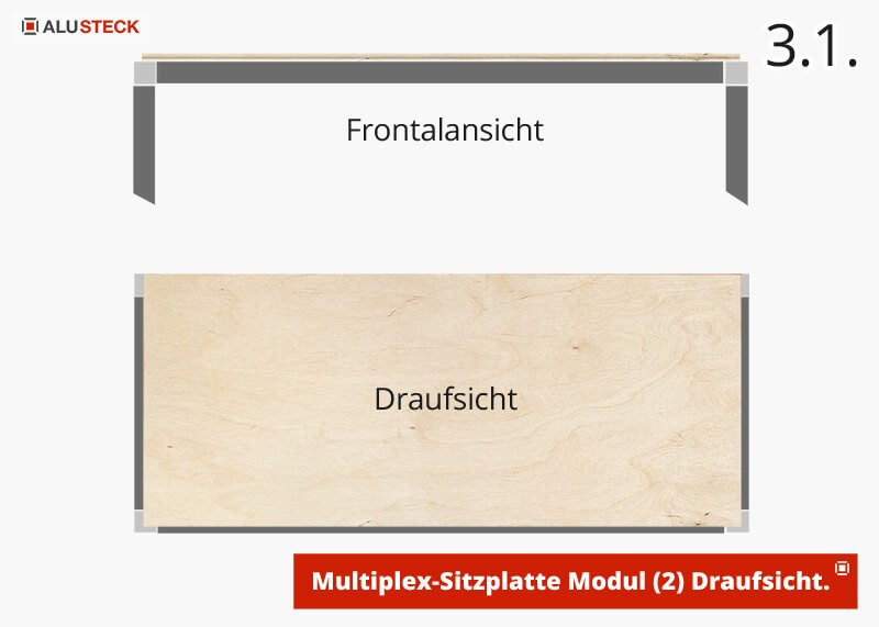Sitzplatte Montieren - Camping Box Modul-2 Draufsicht