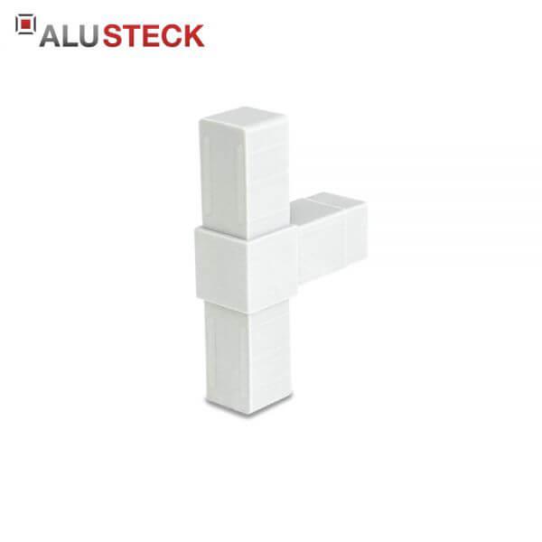 Rohrverbinder / Eckverbinder: T-Stück grau - 20x20mm Vierkantrohr Steckverbinder