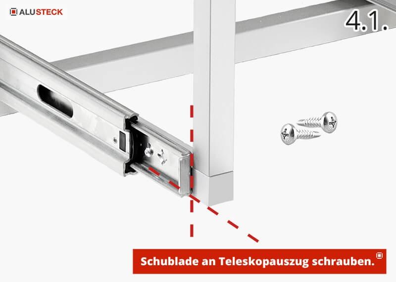 Campingbox Schubladenmodul selber bauen Schritt 4.1. Schubladekorpus an Teleskopauszug befestigen