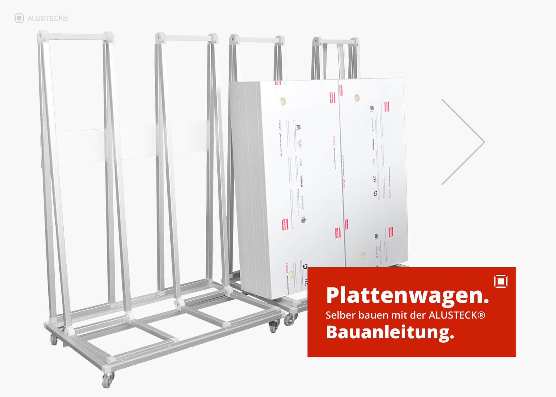 plattenwagen selber bauen - bauanleitung mit alusteck®