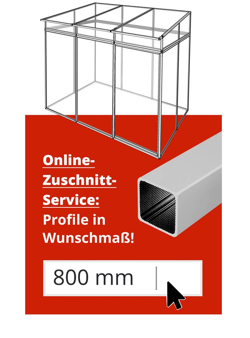 Gewächshaus / Pflanzenhaus Gestell Stecksystem kaufen - Aluprofile Zuschnitt-Service