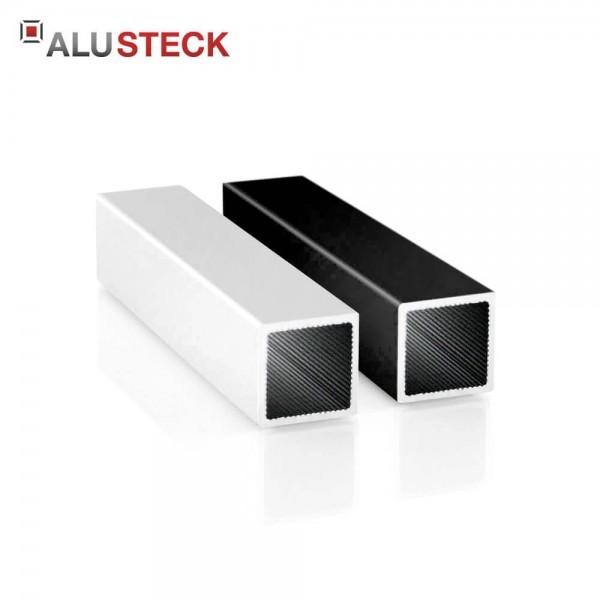 Alu Vierkantrohr 20 x 20 x 1,5 mm - Aluminiumprofil blank, silber eloxiert, schwarz pulverbeschichtet - Quadratrohr R-V20