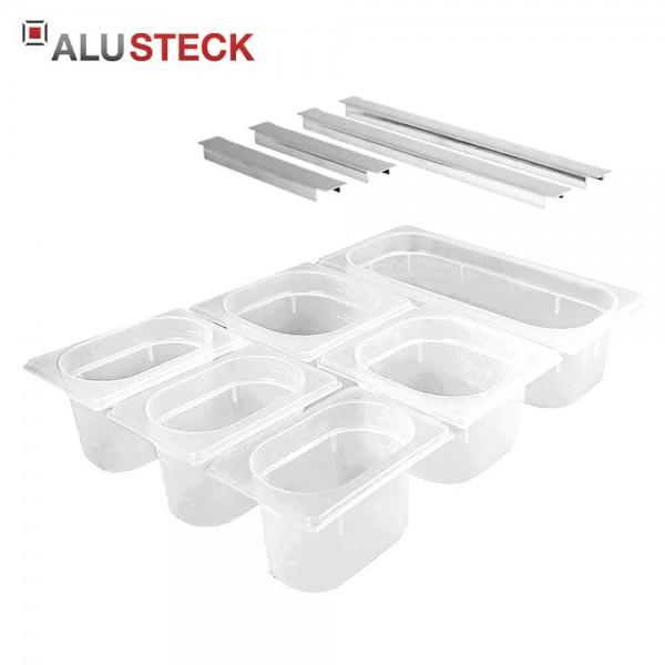 Lebensmittelbehälter Set-K1 (Kunststoff) mit Systemschienen - Outdoor-Küche