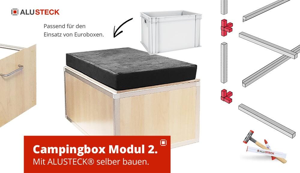 Campingbox selber bauen Modul-2 - Bauanleitung Sitzbank mit Stauraum