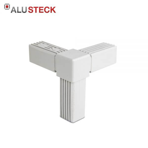 Rohrverbinder / Eckverbinder: Rechter Winkel 1 Abgang grau - 25x25mm Vierkantrohr Steckverbinder