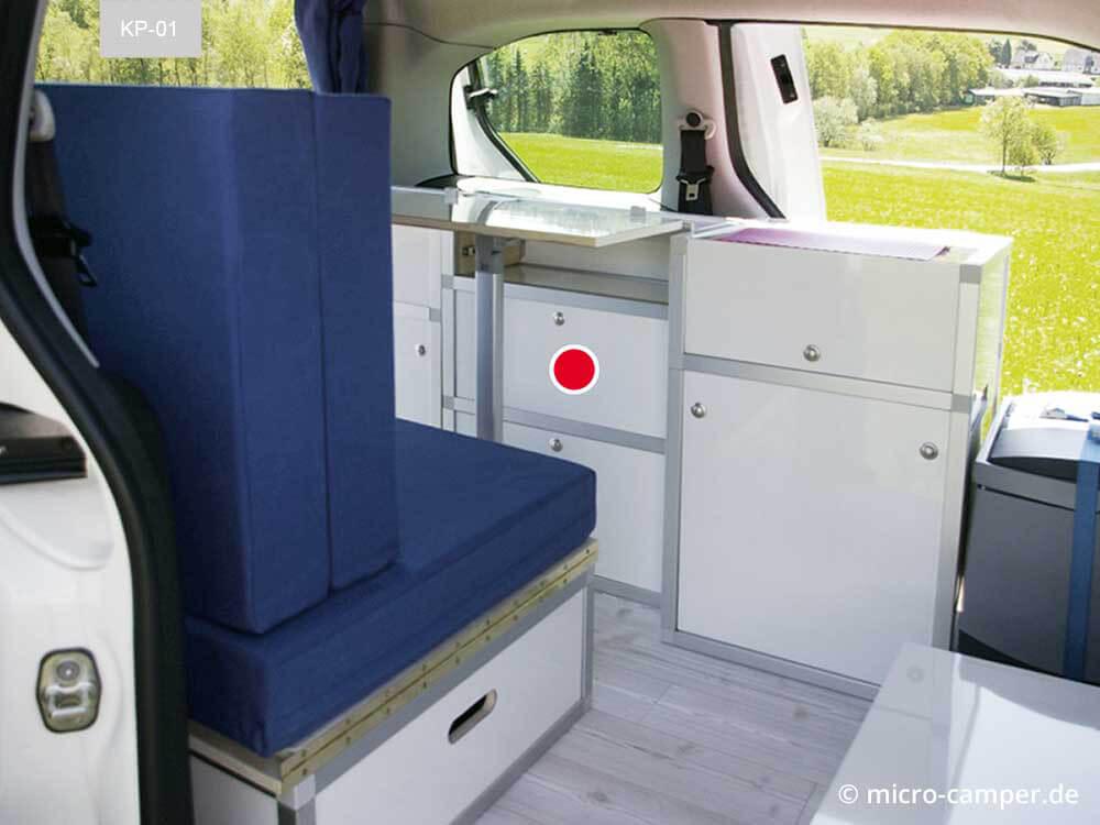 Staumodul fertig in den Mini-Van eingebaut
