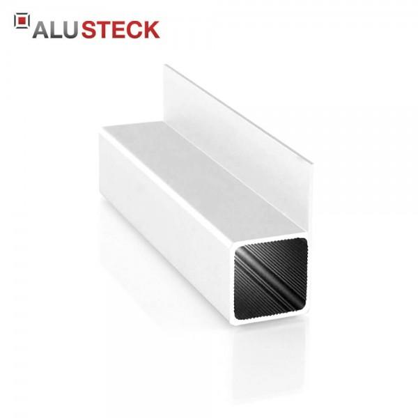Aluprofil 25x25x1,5mm 1 Steg 20mm bündig: Quadratrohr 6m Lagerlänge