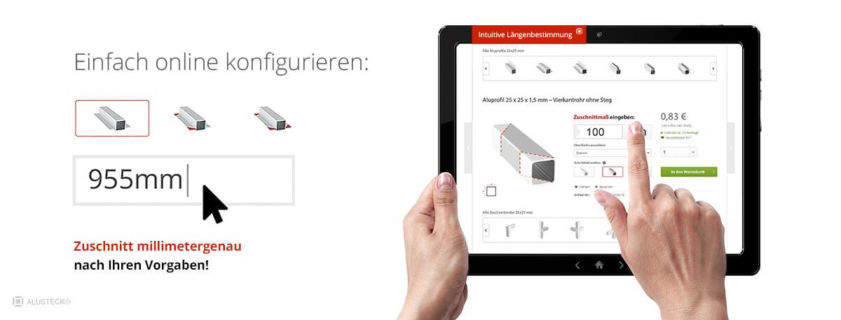 Aluprofile kaufen online konfigurieren Shop