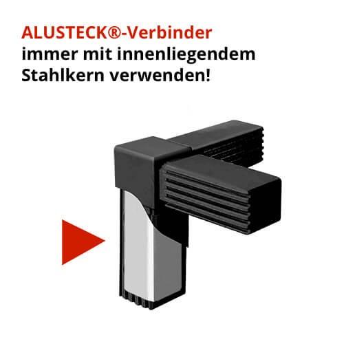Raumteiler Verbinder Rechter Winkel 1 Abgang schwarz mit Stahlkern