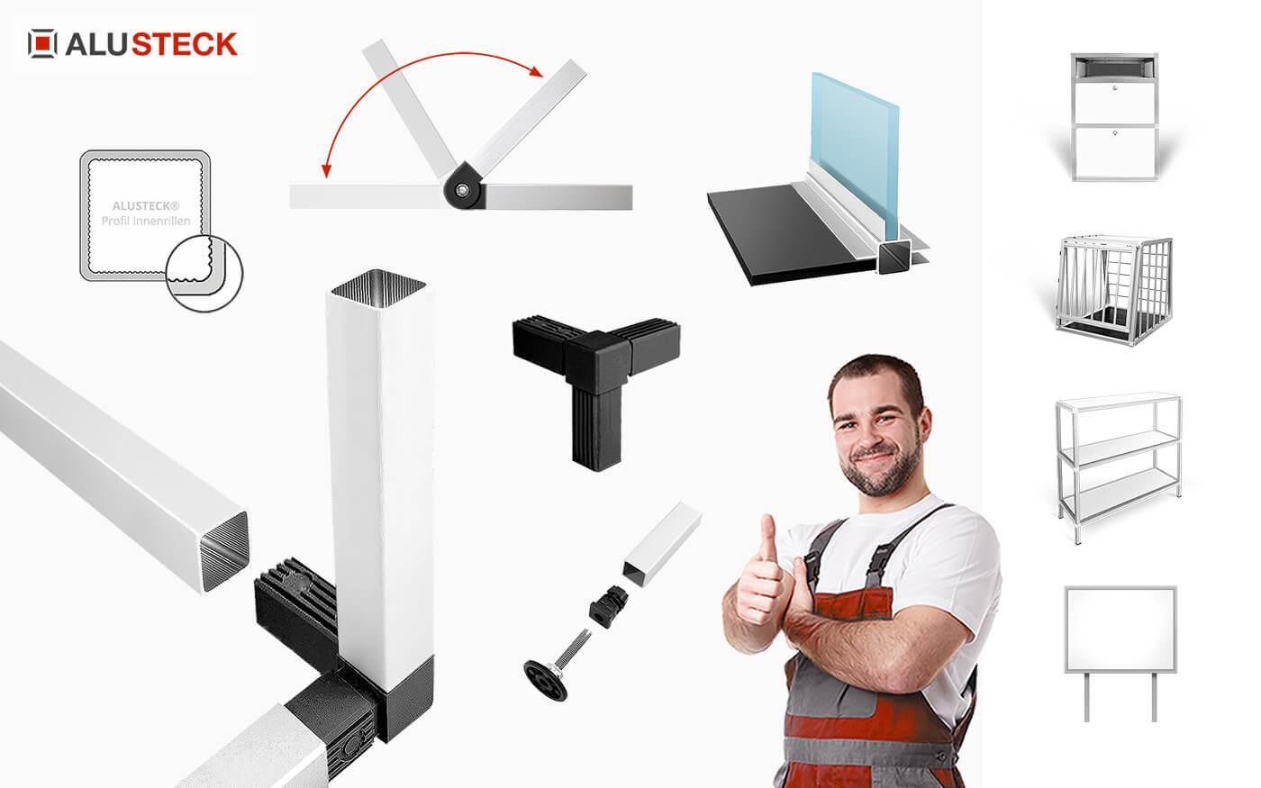 Alu-Profilsystem ALUSTECK® Onlineshop Aluprofil System Profil Grosshandel