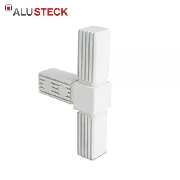 Rohrverbinder / Eckverbinder: T-Stück grau - 25x25mm Vierkantrohr Steckverbinder