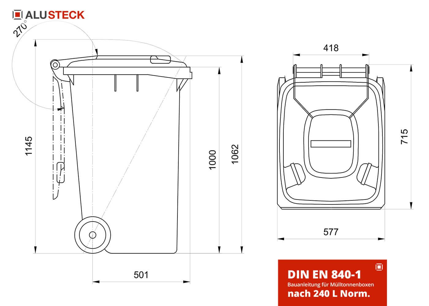 Mülltonnenbox selber bauen Maße - 240L Mülltonnnen DIN Norm EN 840-1