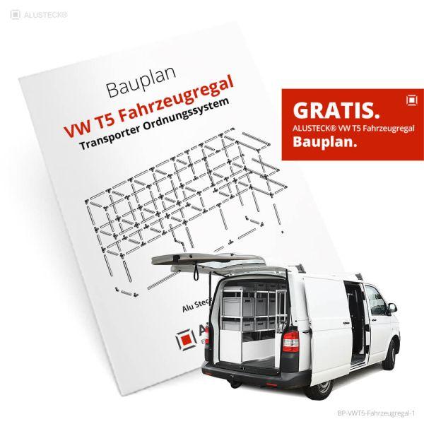 Bauplan Fahrzeugregale VW T5 - Transporter Regale - ALUSTECK® Ordnungssystem