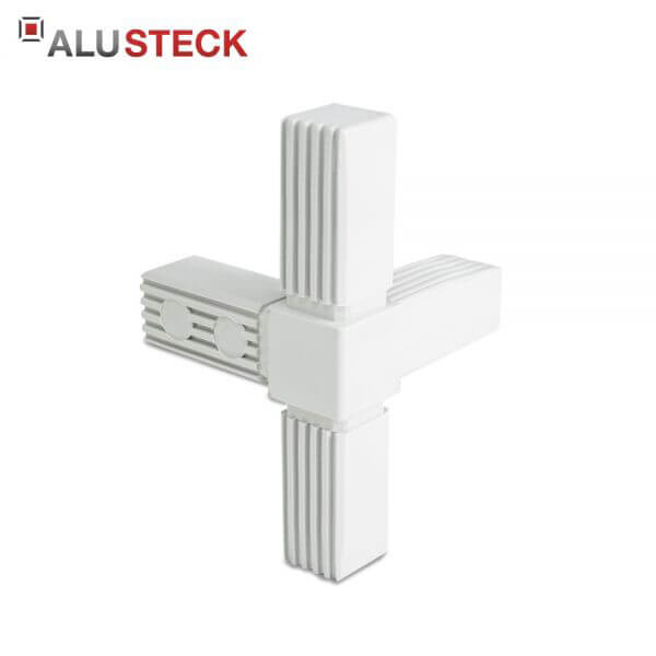 Rohrverbinder / Eckverbinder: T-Stück 1 Abgang grau - 25x25mm Vierkantrohr Steckverbinder