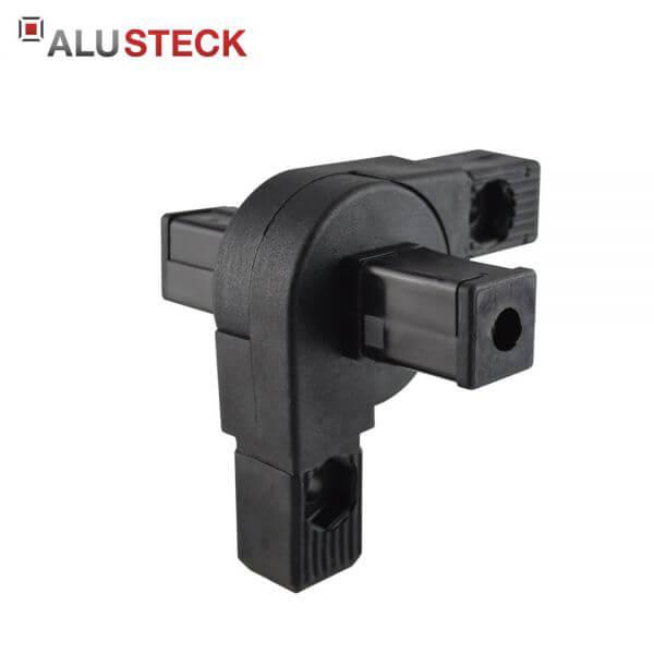 Gelenkverbinder: Rohrverbinder 0-190° schwenkbar 2 Abgänge - 30x30mm Vierkantrohr Steckverbinder